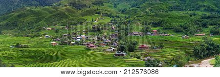 Landscape of land fields and rice terrace at Sapa, Vietnam