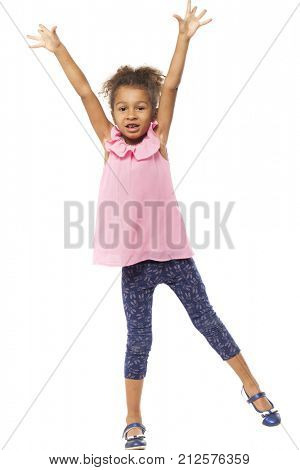 Portrait of a five year old girl full length. Beautiful african little girl isolated on a white background