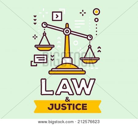 Vector Illustration Of Big Yellow  Justice Scales With Icons. Law And Justice Concept On Green Backg