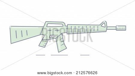 Illustration of a machine gun in a cartoon style.