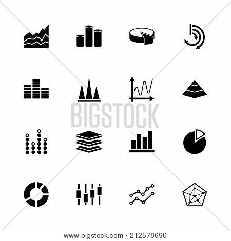 Diagram Graphs - Expand to any size - Change to any colour. Flat Vector Icons - Black Illustration on White Background.