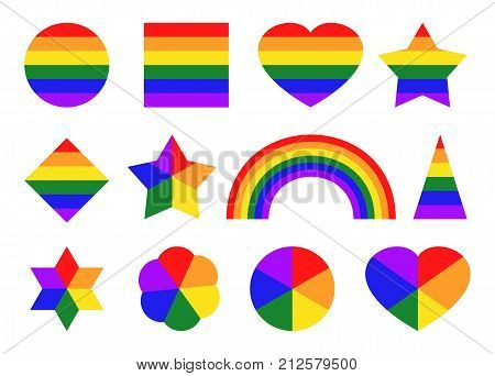 LGBT colored set of simple shapes. Pride color icons