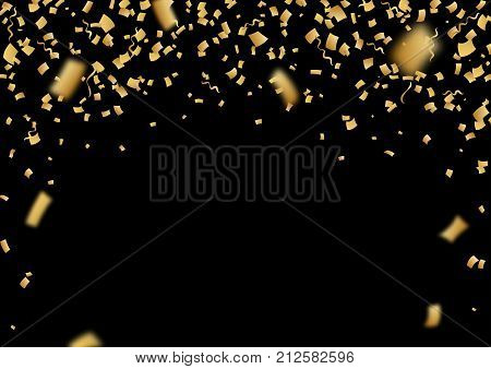 Falling vector confetti. Golden festive shiny confetti glitter rain. Vector realistic illustration on black background. Holiday tinsel elements for design. Christmas or Happy New Year confetti frame.