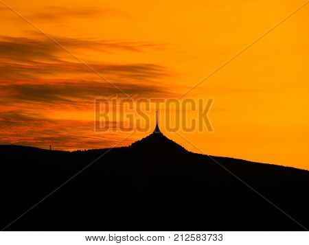 Silhouette of Jested mountain at sunset time, Liberec, Czech Republic.