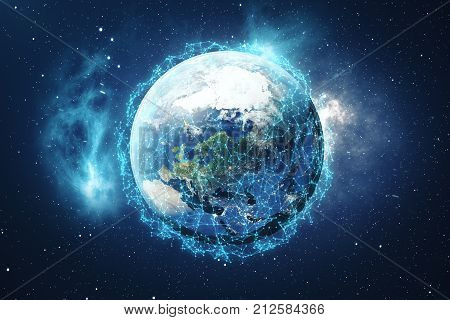 3D Rendering Global Network Background. Connection Lines with Dots Around Earth Globe. Global International Connectivity. Earth from Space With Stars and Nebula. Elements of this image furnished by NASA