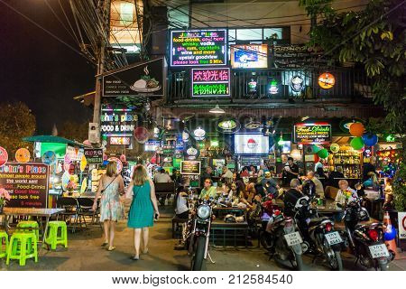 Chiang Mai, Thailand - January 8, 2017: Nightlife in Chiang Mai downtown