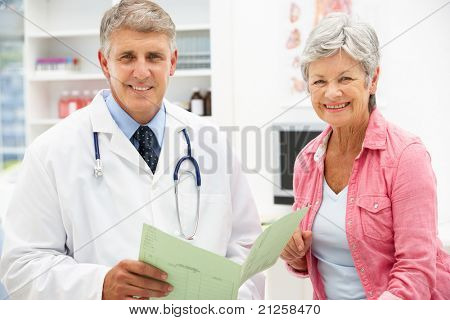 Doctor with female patient poster