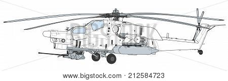 Russian Air Force Mil Mi 28 Havoc military attack combat helicopter in camouflage flying detail exterior wide aerial view