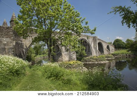 Stirling Bridge Scotland scene of the historic Battle of Stirling Bridge where Scots led by William Wallace defeated the English in 1297.