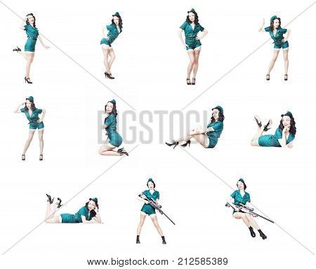 Set of Cute Sexy Brunette with black hair. Pin up Female Dressed in military clothing Uniform and Garrison cap Army Pin-up Girl Concept