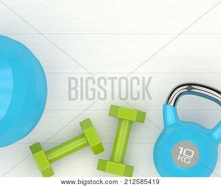 3D Rendering Of Dumbbells, Kettlebell And Fitness Ball