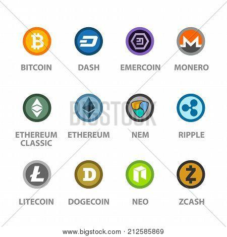 Cryptocurrency icon. Bitcoin, ethereum, classic, dash, monero, litecoin, dogecoin, nem, neo, zcash, ripple, emercoin