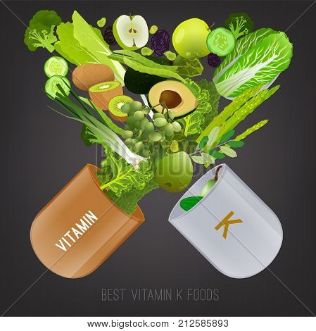 Foods containing vitamin K in the open pill. Source of vitamin K - greens, fruits, vegetables, salads, oil on grey background. Medical, healthcare and dietary creative concept. Vector illustration.