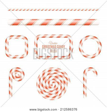 Christmas brush of red and white lollipop. Sugar Christmas lollipop. Frames of candy. Candy for the holiday. New Year. Vector illustration