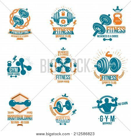 Set of vector fitness workout and weightlifting gymnasium theme logotypes and inspiring posters made using dumbbells disc weights sport equipment and muscular athlete body silhouettes. poster