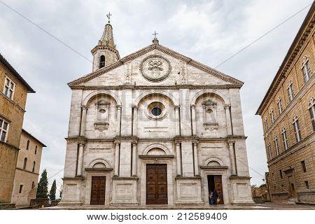 Front view on Santa Maria Assunta's Cathedral Pio II Square Pienza Tuscany Concattedrale di Santa Maria Assunta cathedral church. Italy