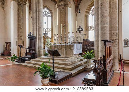 PIENZA ITALY - November 3 2017. Interior Santa Maria Assunta's Cathedral Pio II Square Pienza Tuscany Italy