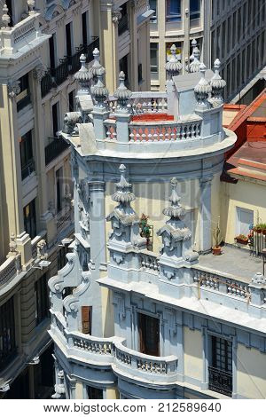 Historic Building on Gran Via in downtown Madrid, Spain.