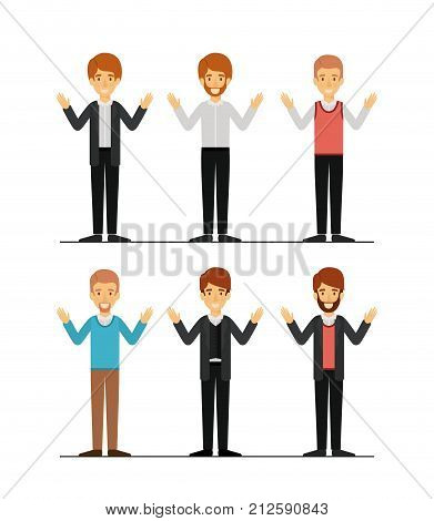 men set in formal clothes colorful silhouette vector illustration