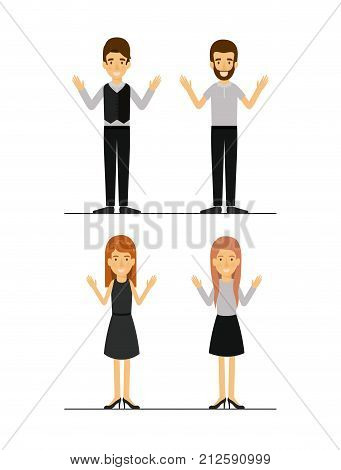 women and men set in formal clothes on colorful silhouette vector illustration