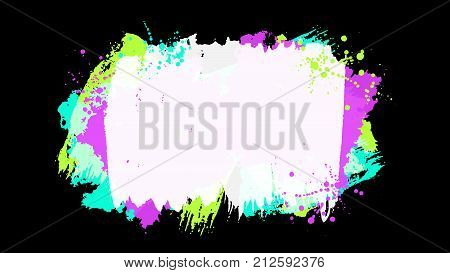 Grunge splatter background. Ink stains design. Spray splashes backdrop. Liquid stains isolated. Paint brush strokes and drops texture. Abstract vector illustration.