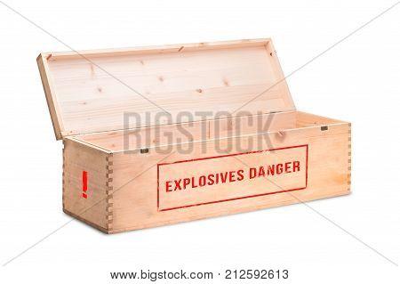 An open wooden box with dangerous explosives