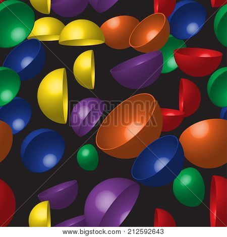 Rainbow Hemispheres on Black Background, Vector Seamless Pattern