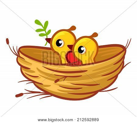 Vector Illustration Of The Chicks Sitting In The Nest.