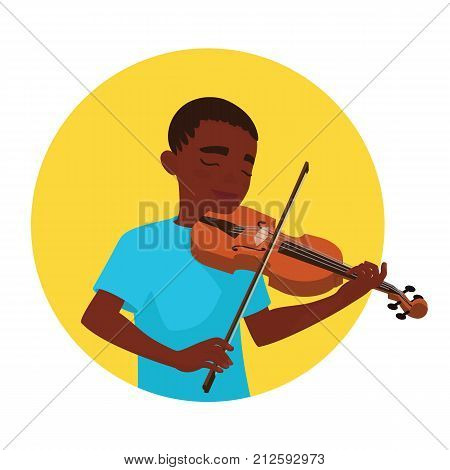 Musician playing violin. Boy violinist is inspired to play a classical musical instrument. Vector illustration in cartoon style in the yellow circle on white background for your design and print.