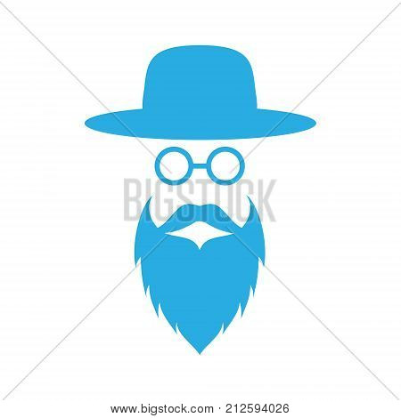 Jewish men in the traditional clothing. Ortodox Jew hat, mustache, glasses and beard. Man concept. Israel people. Flat style. Vector illustration.