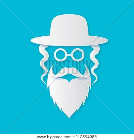 Origami Jewish men in the traditional clothing. Ortodox Jew hat, mustache, glasses, sidelocks and beard. Man concept. Israel people. White Paper cut style. Vector illustrator