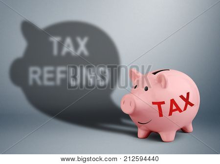Piggy bank with shadow tax refund creative concept