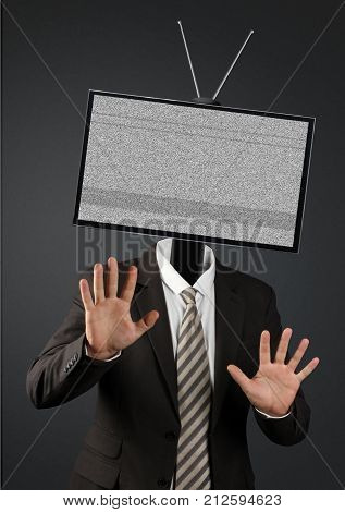 man with tv head television addiction concept