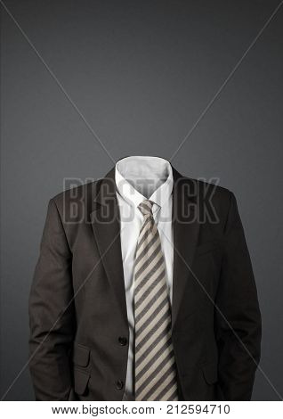 man without head on dark with copy-space