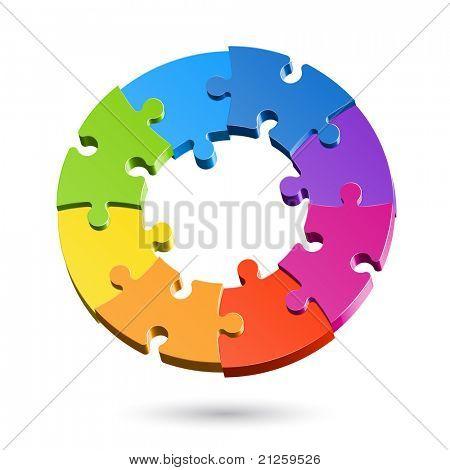 Jigsaw puzzle circle. Vector.