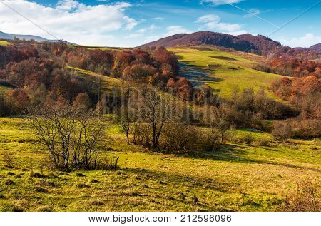 Mountainous Rural Area In Late Autumn