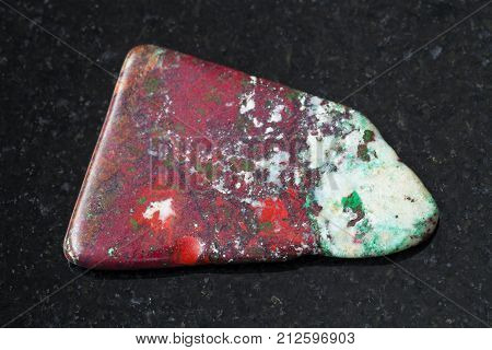 Tumbled Red Cuprite And Green Chrysocolla On Dark