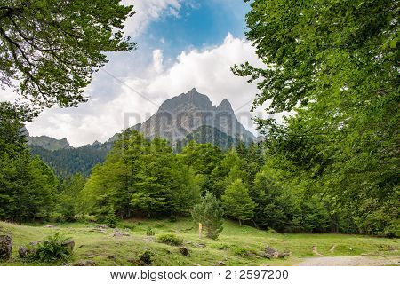 a view of mountain the Pic du Midi d'Ossau in the French Pyrenees