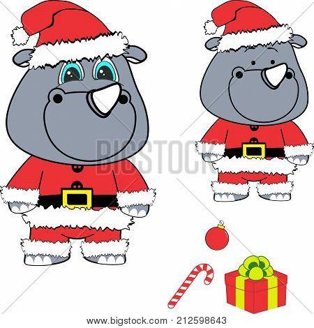 xmas baby rhino cartoon santa claus costume set in vector format