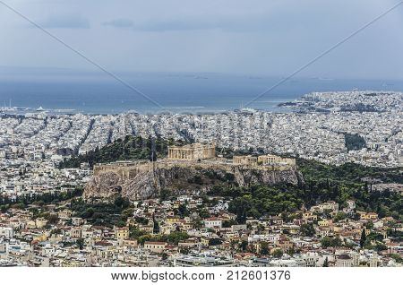 view of the acropolis the city of Athens to the port of Piraeus and on the horizon you get to glimpse the island of egina
