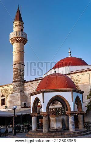 Turkish mosque with minaret in Kos in Greece