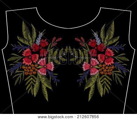 Embroidery patch, fashion neckline, flowers, berries, plants pattern for apparel decoration