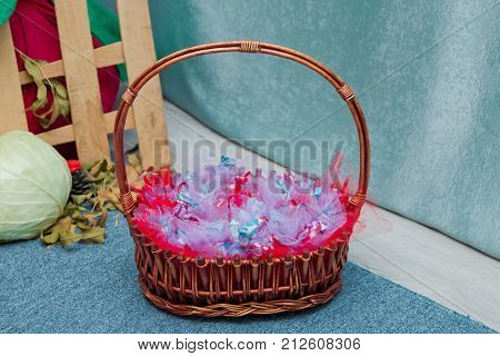 Baskets From The Shoulders. Candy In The Basket.