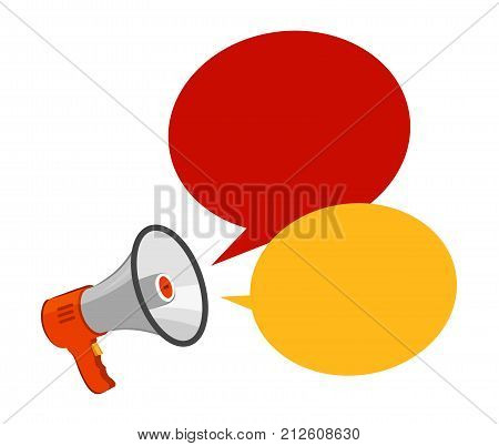 Loudspeaker, megaphone. Advertising, announcement, attention concept Vector illustration isolated on white background