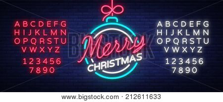Merry christmas and a happy new year. Greeting card or invitation pattern in neon style. Neon luminous signboard, bright luminous banner. Vector vintage illustration. Editing text neon sign.
