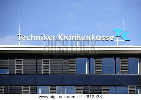 DARMSTADT, GERMANY - OCTOBER 31: The facade of the modern office building of the technician health insurance company TK with logo and office windows on October 31, 2017 in Darmstadt.