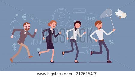 Team chasing an idea with butterfly net. Creative process of thinking, generating, developing, and curating new thoughts. Vector flat style cartoon illustration isolated on blue background