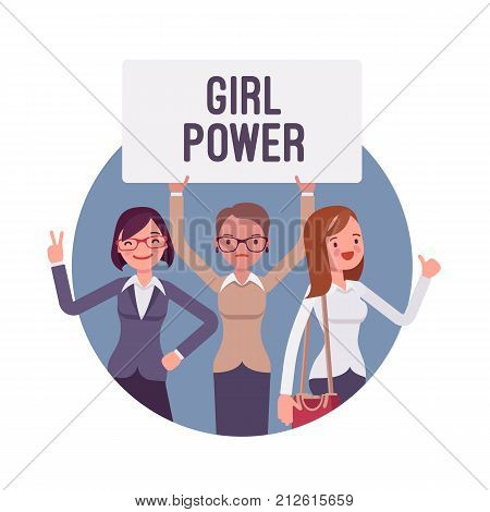 Girl power poster. Young women showing empowerment, independence, and confidence in feminist culture and ideas. Vector flat style cartoon illustration isolated in blue round background on white