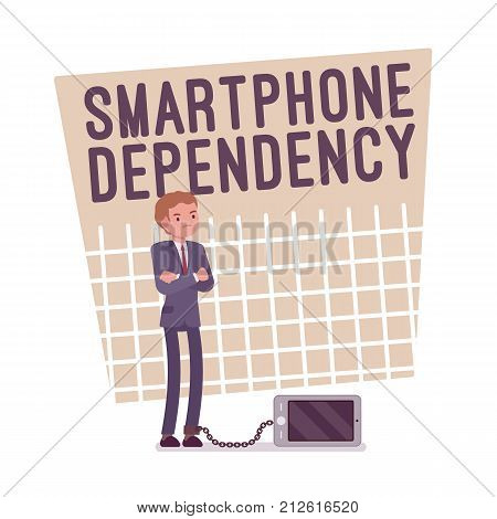 Smartphone dependency poster. Young depressed man chained and addicted to his phone, caught in cell with growing gadget obsession. Vector flat style cartoon illustration isolated on white background