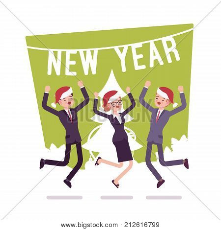 New Year office party. Company employees, partners fun gathering for special occasion, holiday cheer and dances. Vector flat style cartoon illustration isolated on white background